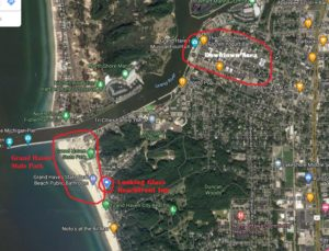 Grand Haven Map of State Park in comparison to Downtown