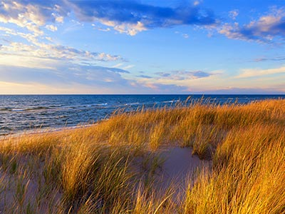 Grand Haven Lake Michigan Beach and Dunegrass