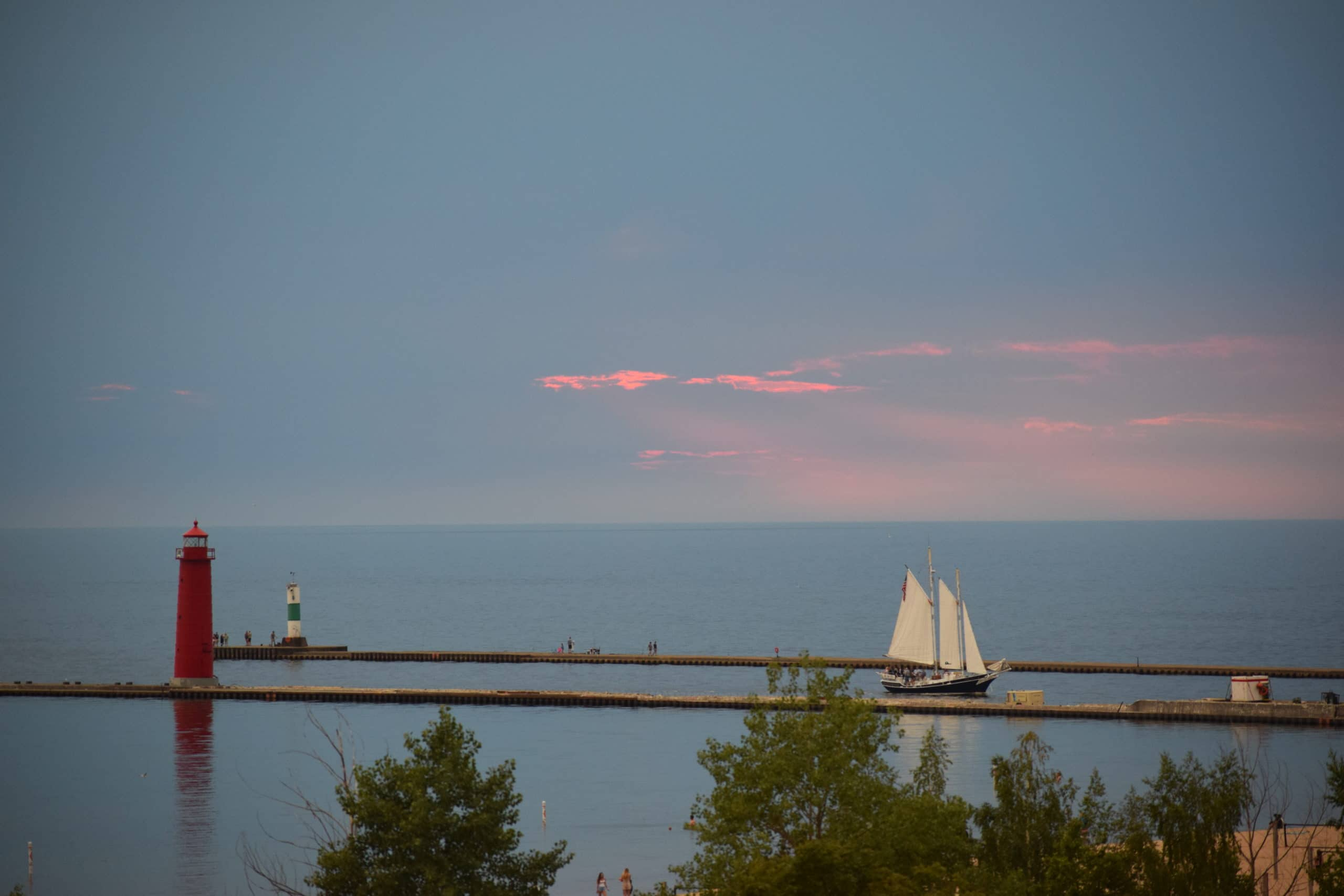 View of Lake Michigan sunset from the Looking Glass Beachfront Inn deck